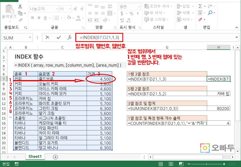 엑셀 index 함수 예제 png