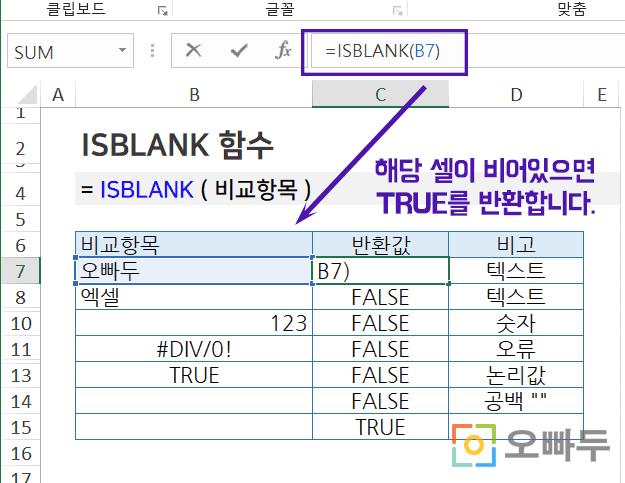 엑셀 isblank 함수 사용법 예제