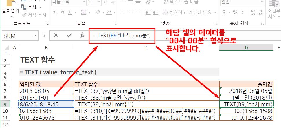 엑셀 TEXT 함수 사용법 PNG