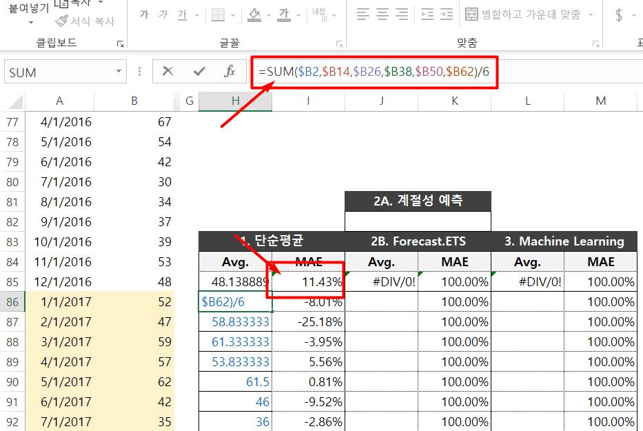 엑셀 단순이동평균 데이터 예측 예제